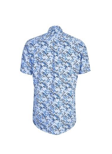 Kiğılı Kısa Kol Desenli Relax Fit Gömlek Mavi